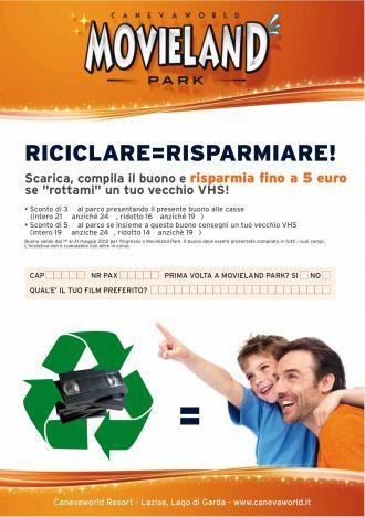 Movieland Park 5 euro di sconto per il parco con l'iniziativa Riciclare e Risparmiare