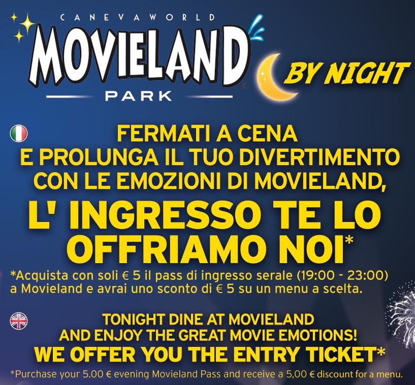 Movieland Park Serata omaggio a Movieland con il menù